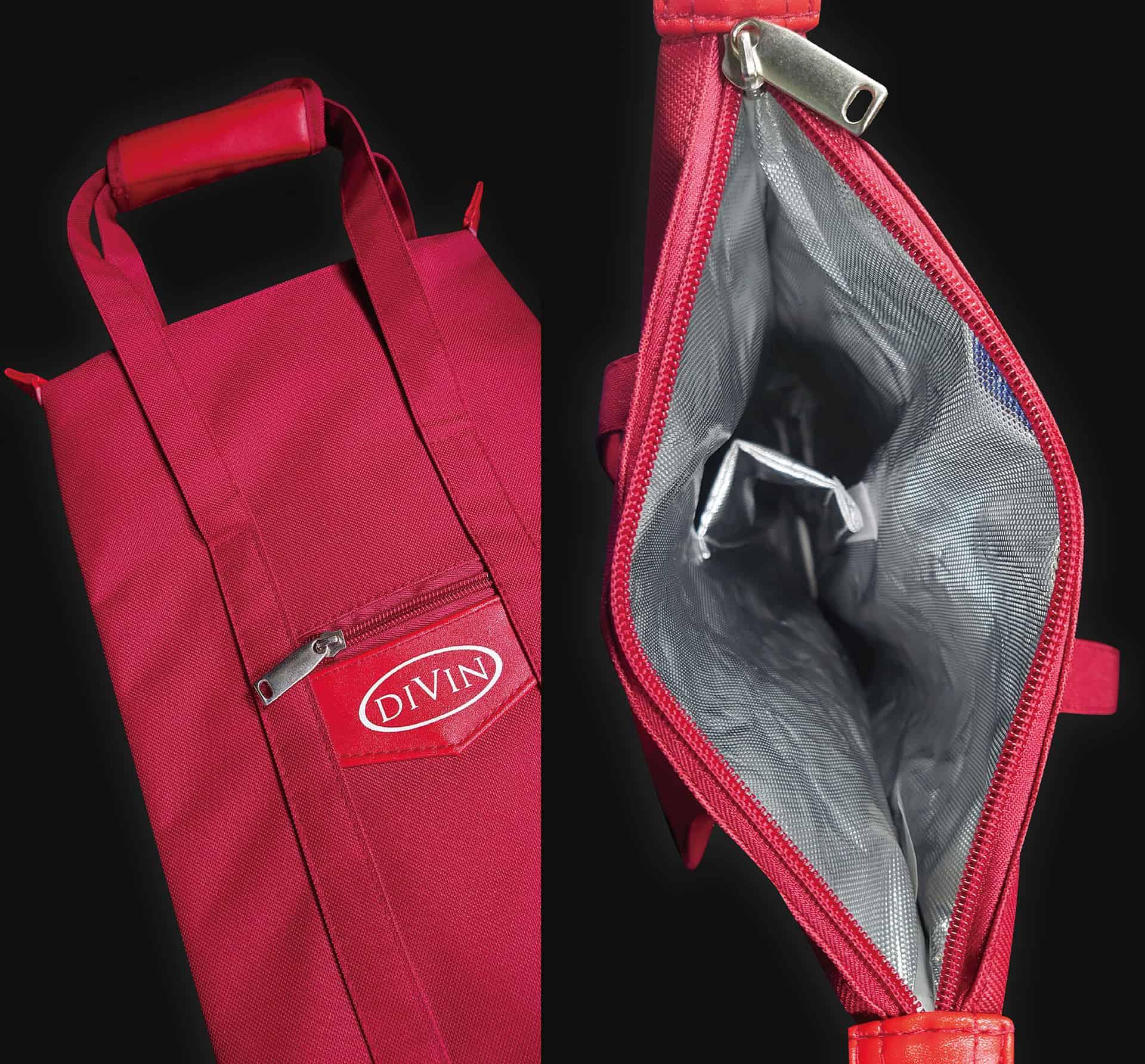 紅色酒袋材質近照